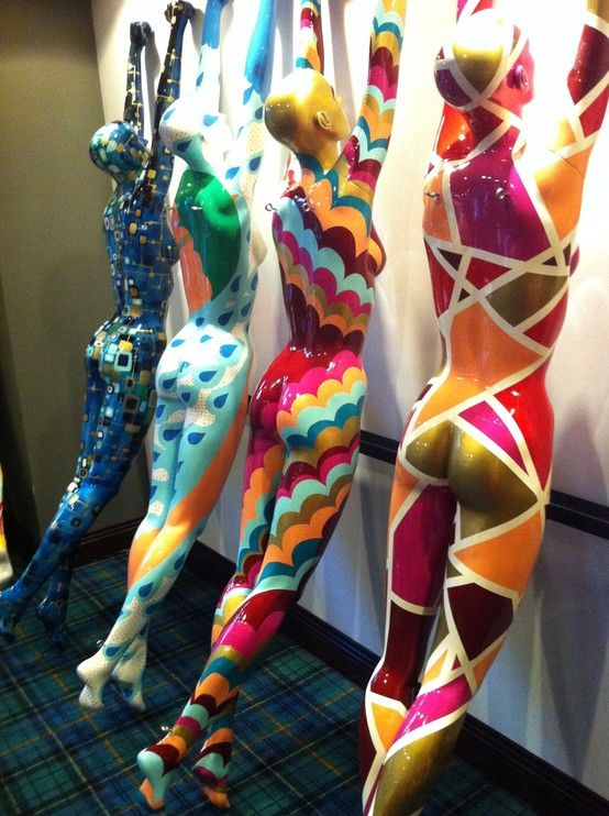 """Painted Mannequins for Acme Hotel. Mannequins are easy to find and easy to paint. Add some novelties for sale and they are great painted """"forward and edgy"""" display.  popuprepublic.com"""
