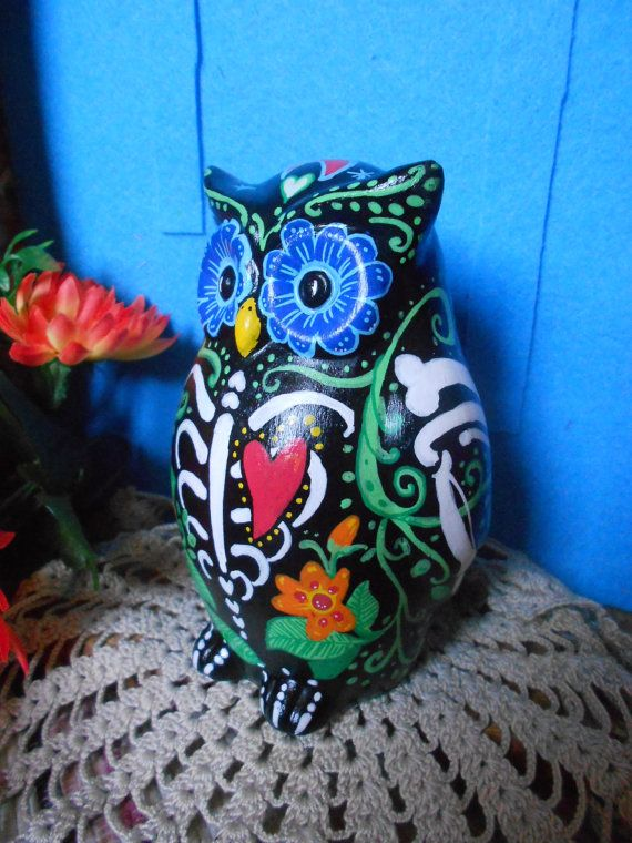 Sugar Skull Owl Flowers & Bone by DonaZarzanga on Etsy