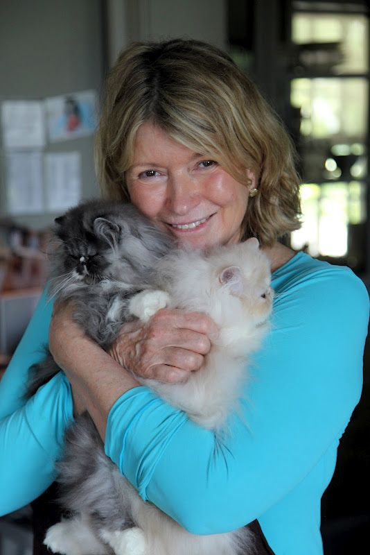 Look how happy Martha looks snuggling her kitties! And incredibly fresh-faced at 70. Such a sweet picture.