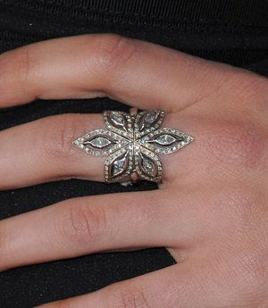 Cathy Waterman Diamond and Platinum Flower Ring Profile Photo