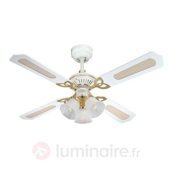 Ventilateur de plafond blanc Princess Trio, référence 9602167 - Ventilateurs de plafond ou à poser chez Luminaire.fr !