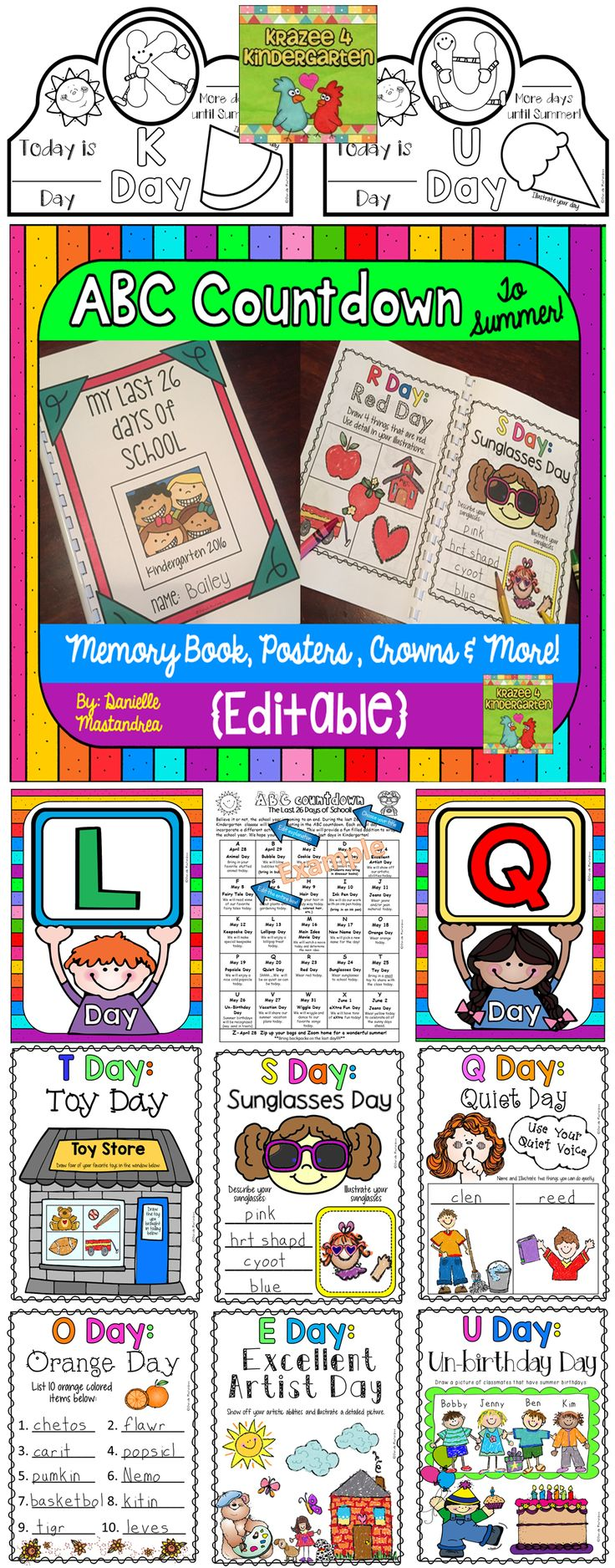 Countdown to Summer. End of the year ABC countdown to the last day of school. Great for Kindergarten, First & Second grade!