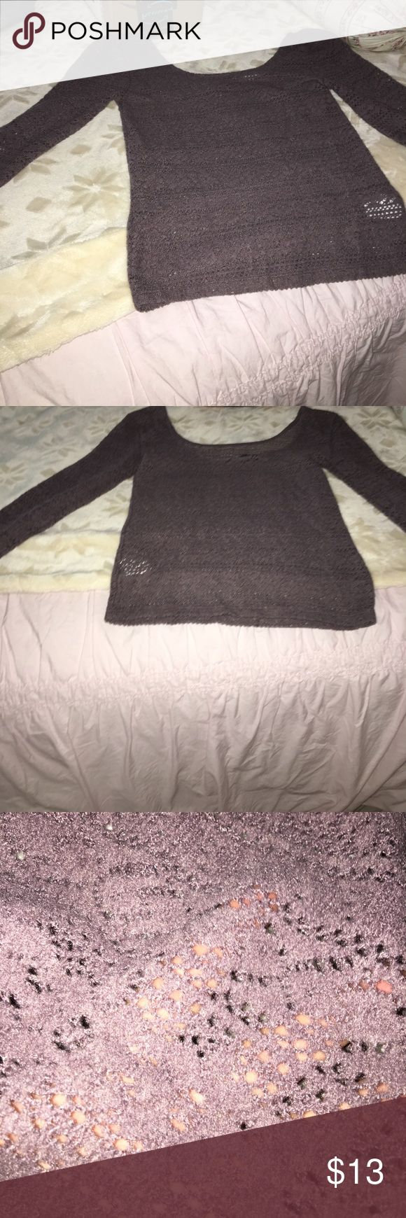 Lacy Long Sleeve Crop Top NWOT •Crop Top with cutouts •Purple •NWOT •Purchased from American Eagle Outfitters store/website •Size Small American Eagle Outfitters Tops Crop Tops