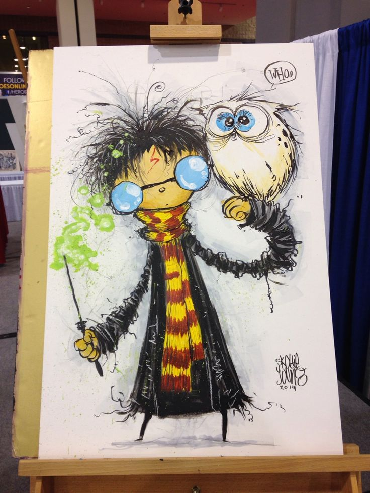 Skottie Young - Harry Potter painting for Heroes Con art auction.