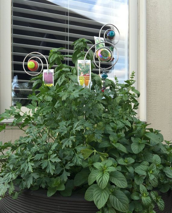 Patio Herb Garden plant Picks Sticks Garden Yard Art by AllegroArt