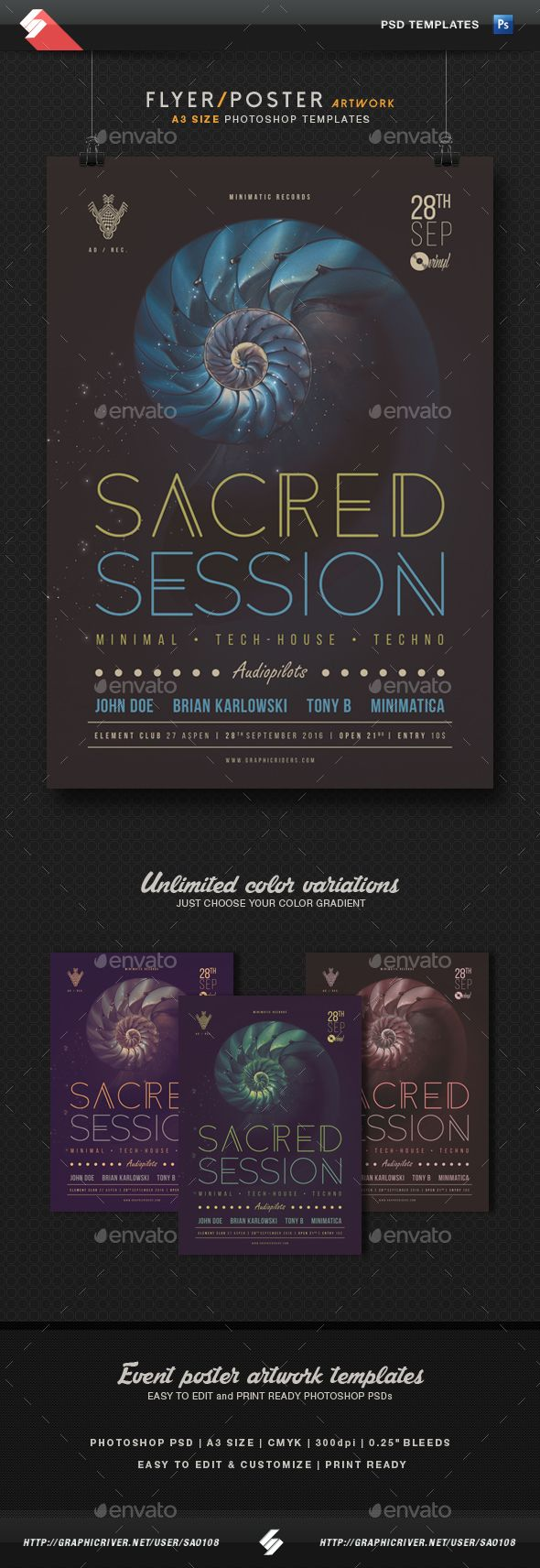 Sacred Session - Minimal Techno Party Poster Template A3 PSD. Download here: http://graphicriver.net/item/sacred-session-minimal-techno-party-poster-template-a3/15409773?ref=ksioks