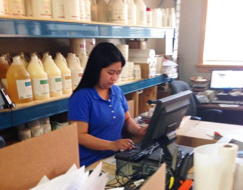 Behind the Scenes at MTSO | Massage Therapy Supply Outlet - Gail hard at work getting your order ready