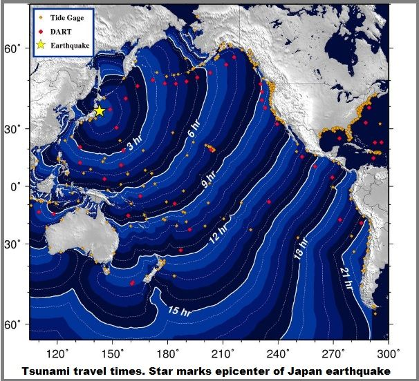 Tsunami travel times from Japan's earthquake today:  uhhh...should we be moving inland now??