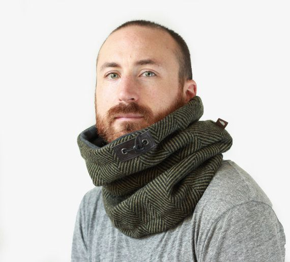 Mini Snock™ unisex mens cowl scarf in thick tweed green by jaffic