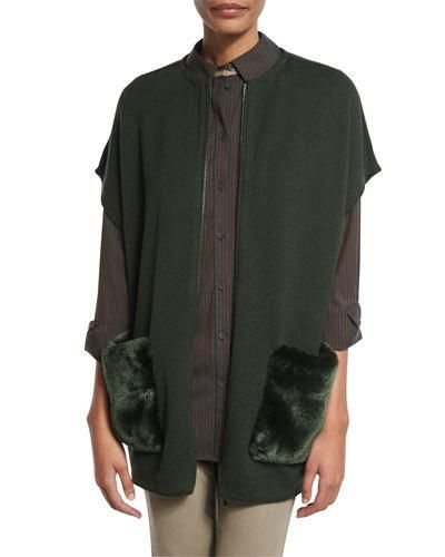 Lafayette+148+New+York+Ribbed+Zip+Front+Vest+W+Faux+Fur+Pockets+Vineyard+|+Clothing