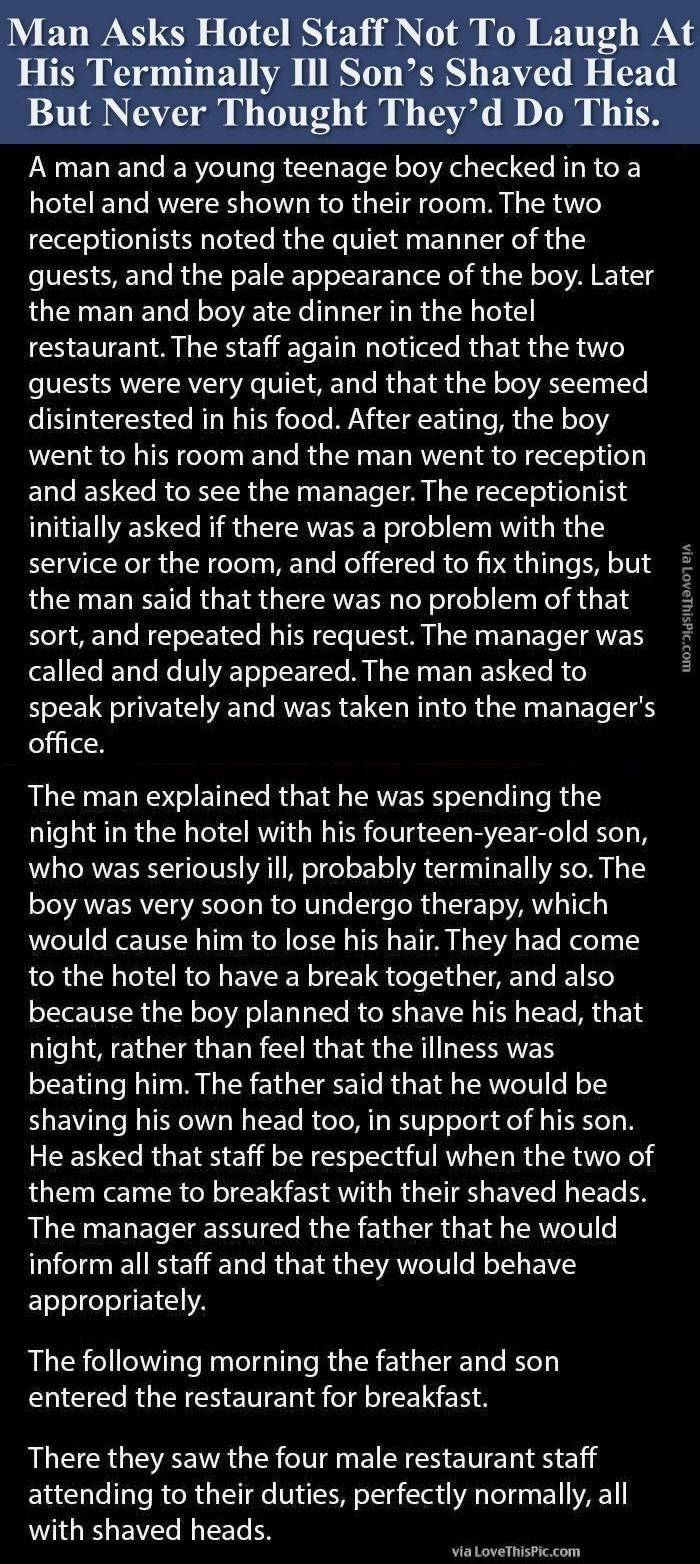 Man Asks Hotel Staff Not To Laugh At Terminally Ill Son's Shaved Head But Never Thought They'd Do This. people amazing story interesting facts stories heart warming good people