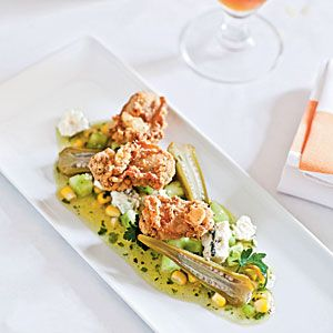 A Taste of Charleston | Fried Oysters with Green Tomato, Sweet Corn, and Blue Cheese Vinaigrette and Quick Pickled Okra | CoastalLiving.com