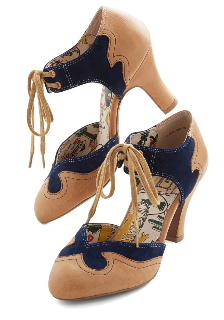 Trailblazing Charmer Heel in Navy, #ModCloth ...so cute! I think I'd switch out the laces for ribbon laces.