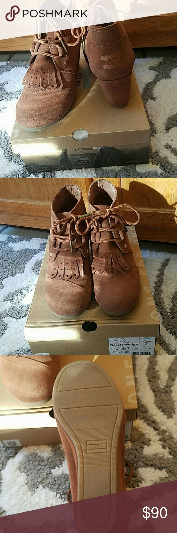 TOMS Desert Wedge Cute TOMS Sude boot wedge. Only worn once. Brand new condition. TOMS Shoes Ankle Boots & Booties