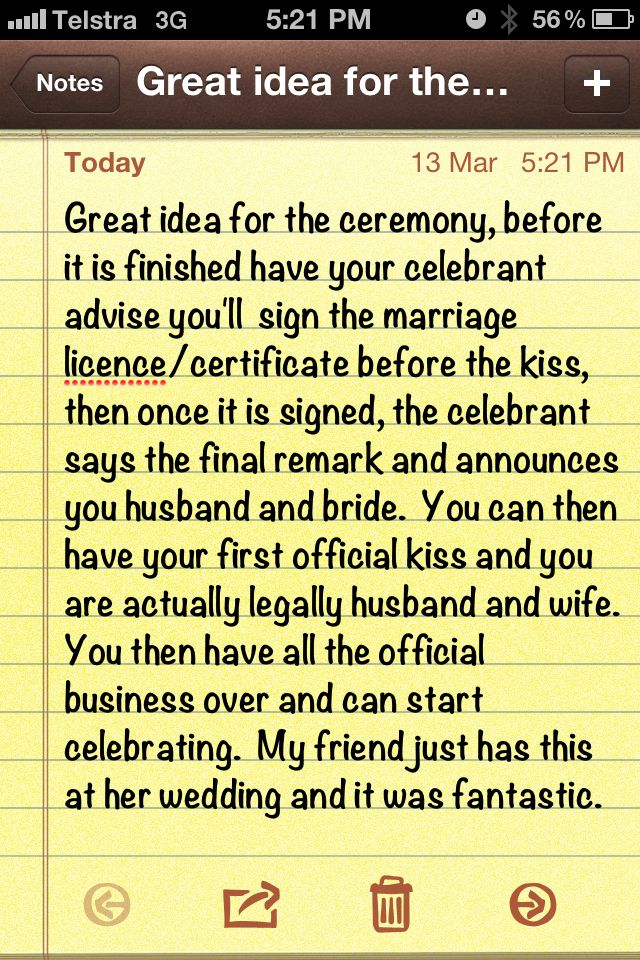 Love this idea!  Make signing the license part of the ceremony!  :)