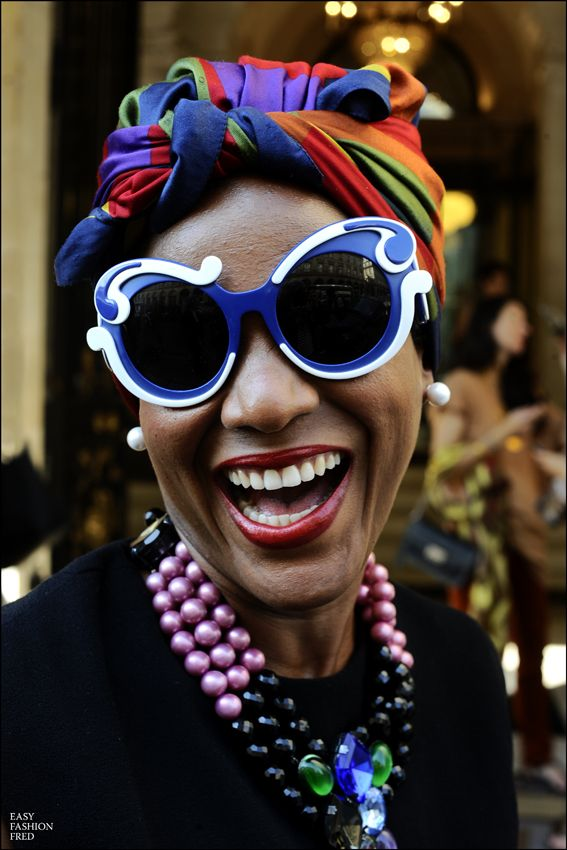 Prada sunglasses and turban