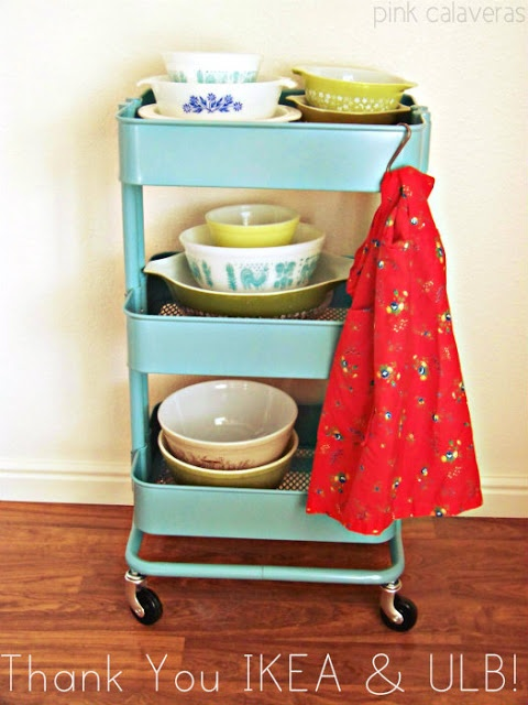 Vintage Pyrex Apron On Ikea Kitchen Cart Vintage Decor