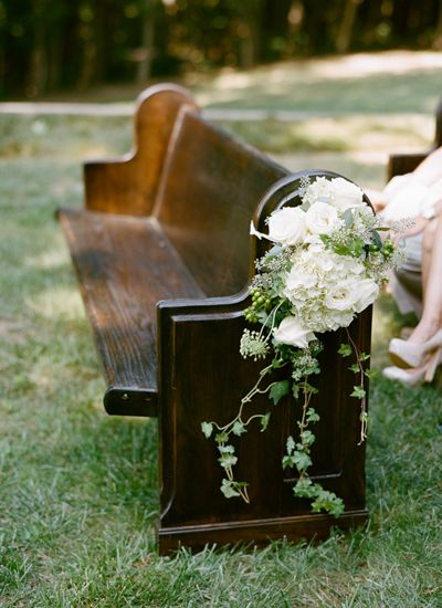 church pews for ceremony seating | Whitney Neal #wedding