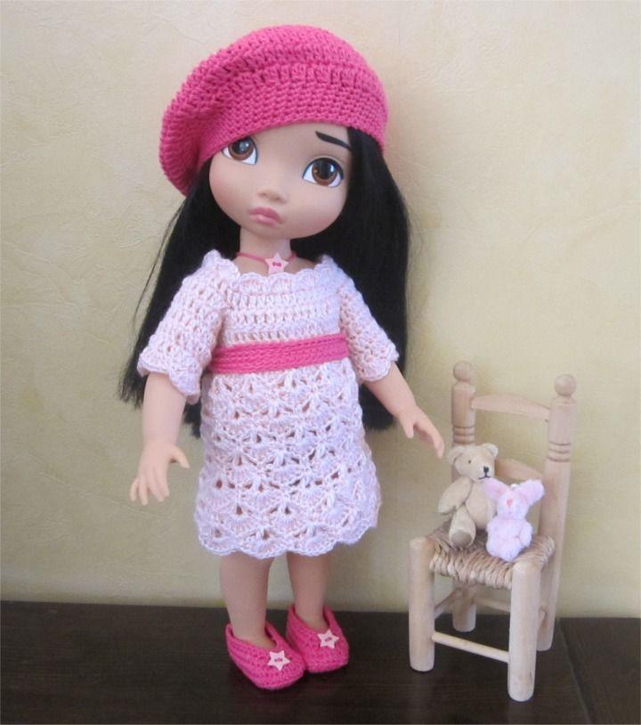 67- FICHE PATRON Tenue Azalée au crochet pour poupée Animator : Jeux, jouets par atelier-crochet