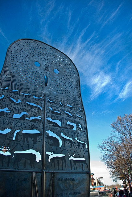 Steel owl at The Forks in Winnipeg, Manitoba. Photo by jennifermmupton, via Flickr