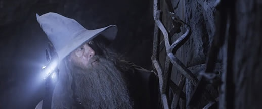 From the set of The Hobbit: The Desolation of Smaug... Hey, Gandalf, your staff is glowing blue again...