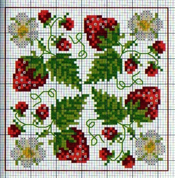 """Adorável coisas do coração: Ponto de Cruz: """"Strawberry biskornyu"""" (esquema + selecção)"""