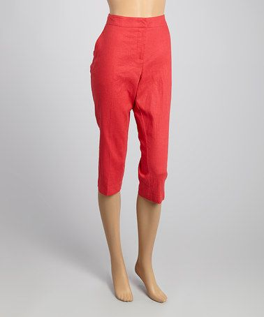 Look at this #zulilyfind! Deep Coral Capri Pants by Jonesie and Magg #zulilyfinds