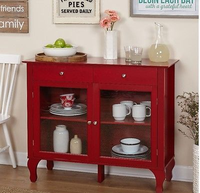Simple Living Layla Red Buffet Transitional Style Kitchen Glass Door Cabinet