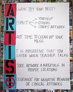 ARTIST - this is how I do my classroom expectations except with the word RESPECT! Jen this would be awesome for you!