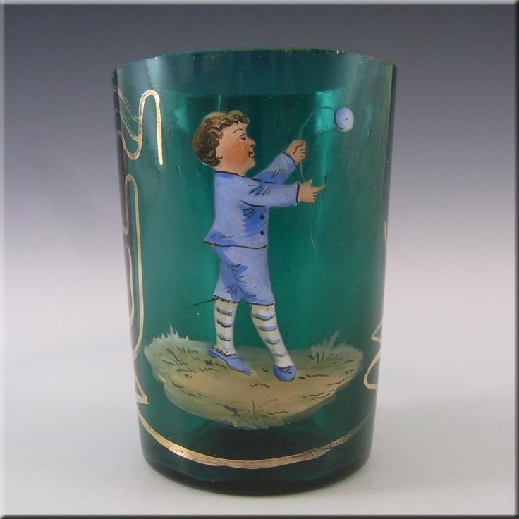 Mary Gregory Bohemian Hand Enamelled Green Glass Tumbler - £40.00