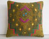DECORATIVE PILLOW Decorative Throw Pillow Kilim Pillow Cover Turkish Cushion Case southwestern tapestry woven kelim decor Simi Valley green