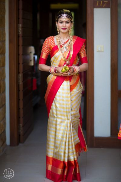 South Indian Bride - Nandini & Chandru (Bangalore) | Red and Off-White Wedding Saree with Gold and Diamond Jewelry | WedMeGood #wedmegood #indianbride #indianwedding #saree #kanjivaram #southindianbride #southindianwedding