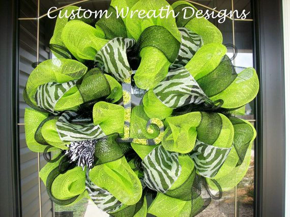 Lime Green and Black Zebra Wreath with hand by lilmaddydesigns