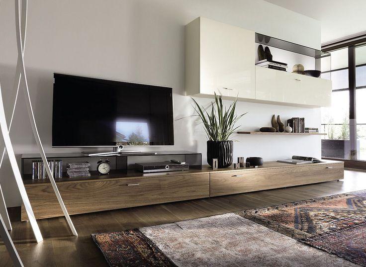 Wohnwand modern hülsta  Contemporary TV wall unit / walnut / glass / glossy lacquered wood ...