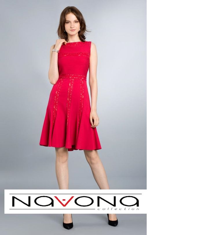 #lady in #red #classy #elegance #casual #dress #tadashishoji