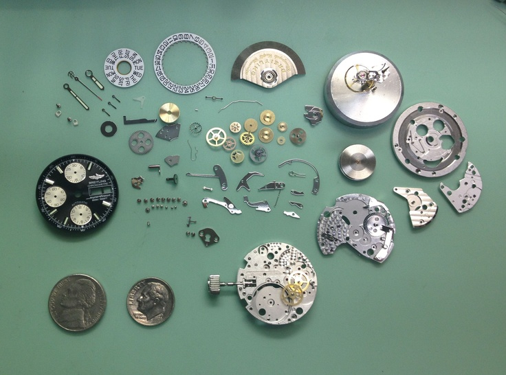 All of these tiny parts make up a Breitling Watch movement