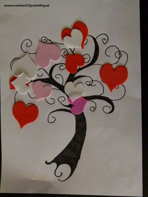 activit manuelle saint valentin gommettes arbre. Black Bedroom Furniture Sets. Home Design Ideas