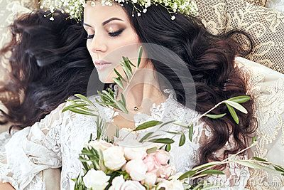 Beautiful Bride In Lingerie And With A Wreath Of Flowers On Her Head, In The Morning Before The Wedding. White Negligee - Download From Over 60 Million High Quality Stock Photos, Images, Vectors. Sign up for FREE today. Image: 91126655