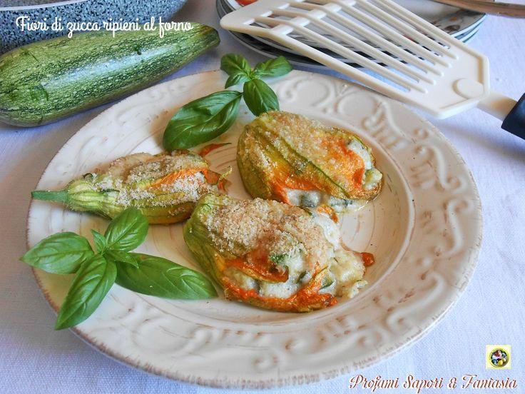 I fiori di zucca ripieni al forno possono essere gustati come antipasto oppure come secondo di verdure. Ricetta facile con passo passo fotografico.