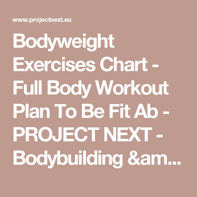 Bodyweight Exercises Chart - Full Body Workout Plan To Be Fit Ab - PROJECT NEXT - Bodybuilding & Fitness Motivation + Inspiration - Share your Motivation & Inspiration