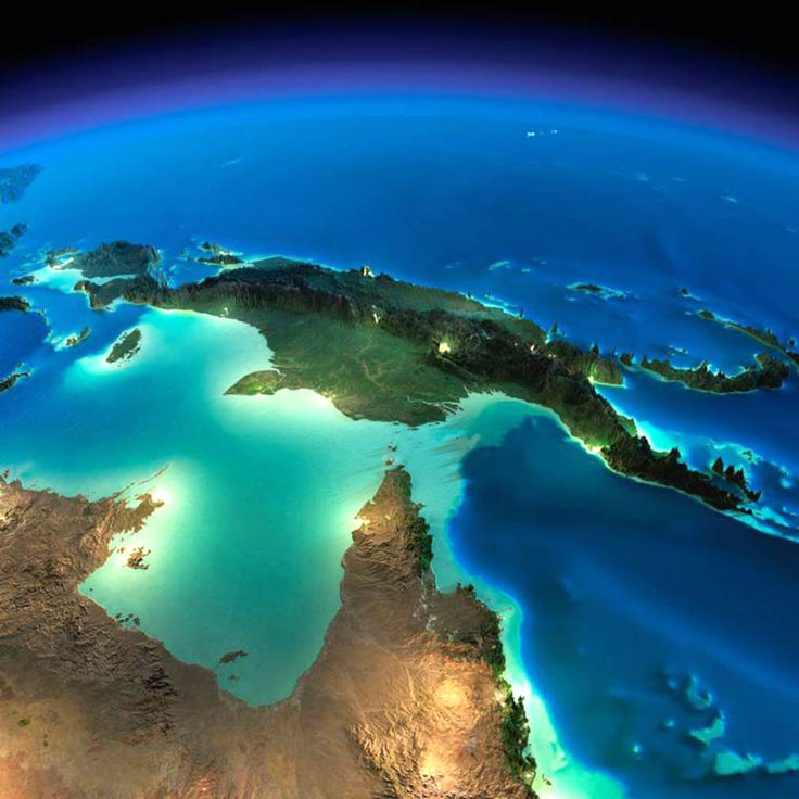 Exaggerated Relief Map of New Guinea and