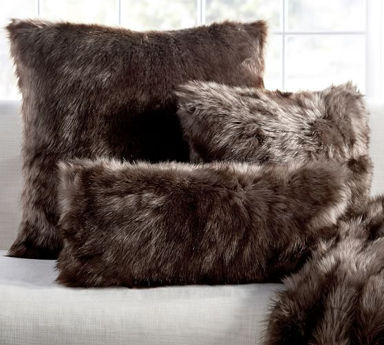 Faux Fur Pillow Cover - Sun Bear, Brown | Pottery Barn