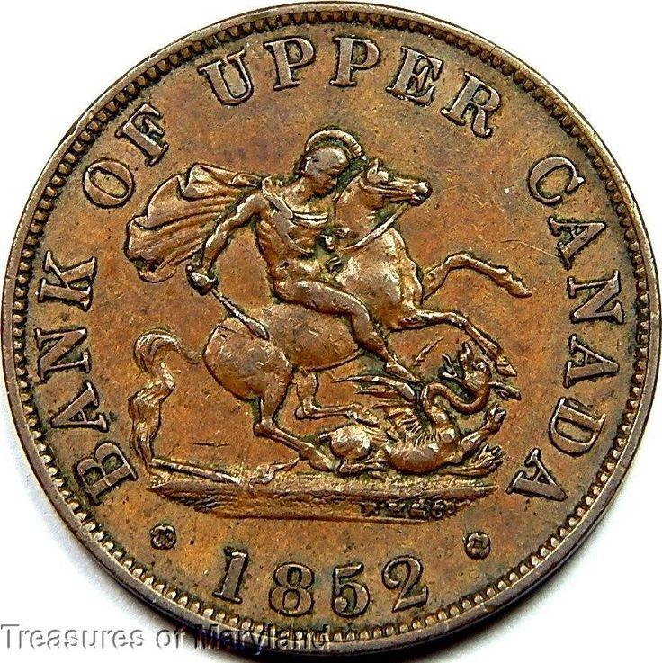 """St George the Dragon Slayer"" 1852 BANK OF UPPER CANADA Halfpenny  Sku #QP12"