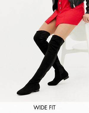 48cdbcbb637 ASOS DESIGN Wide Fit Tall Kelby Flat Elastic Over The Knee Boots ...