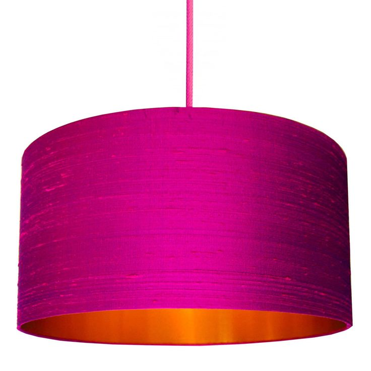 Hot Pink Indian Silk Lampshade with Brushed Copper Lining #lovefrankie