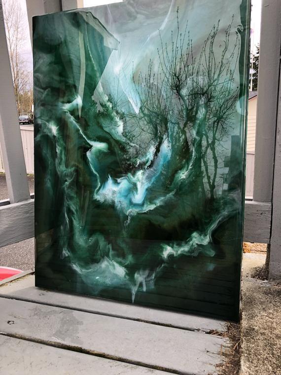 Green Sea: Original Abstract Resin Art Painting | buy in