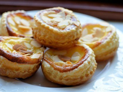 Almond and Vanilla Custard Tarts  Must make. Anything CUSTARD is great!!!!