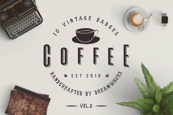 10 Vintage Coffee Badges Vol.2 by dreamwaves on @creativemarket