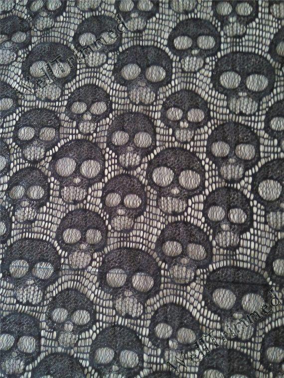 Black Skull lace fabric, Skull fabric, Dem Bone fabric, vogue lace fabric sk111810 by the yard