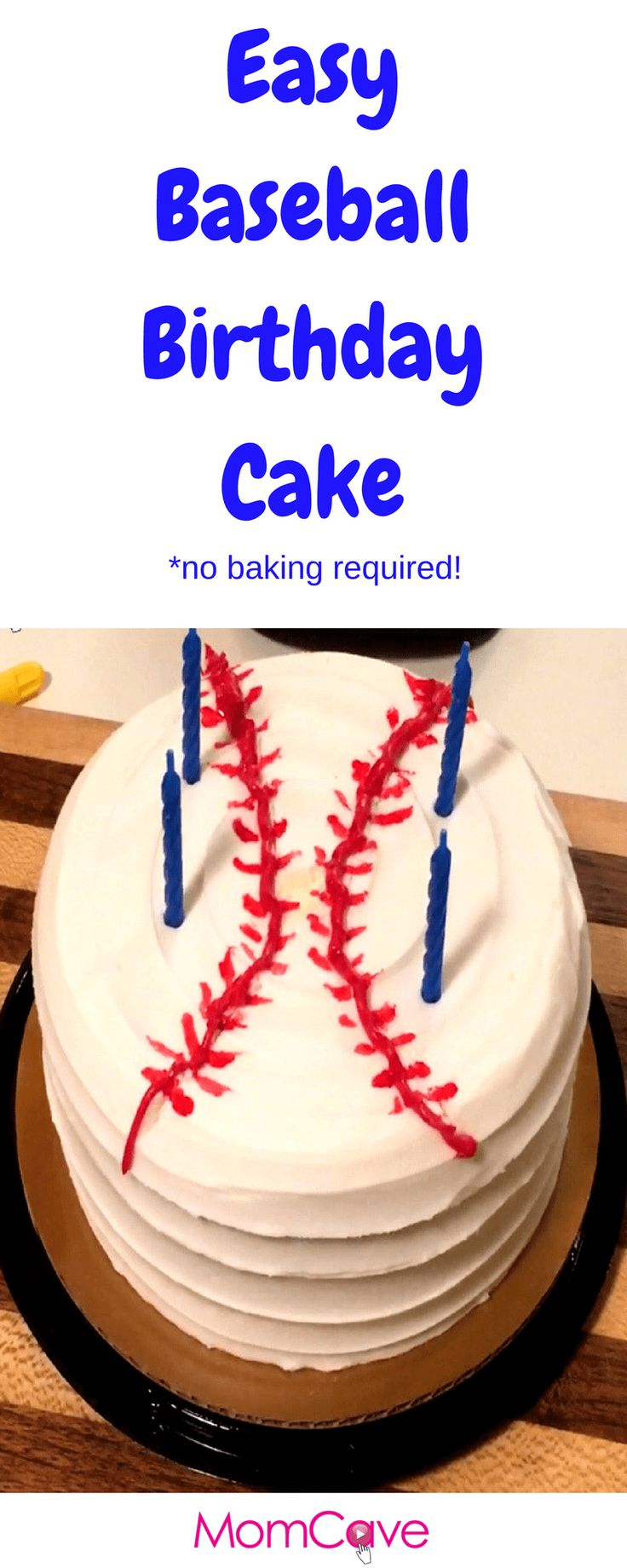 Easy Baseball Birthday Cake for Slacker Moms *No Baking Required* from MomCaveTV.com. Fake bake this easy baseball cake like a pro!